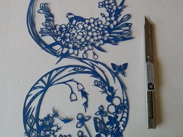 דגים בין הפרחים, מגזרת סינית כחולה