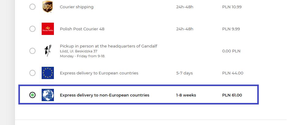 בחירת משלוח נכון מהאתר הפולני