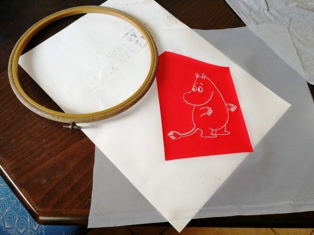 נסיון הדפס עם חישוק רקמה